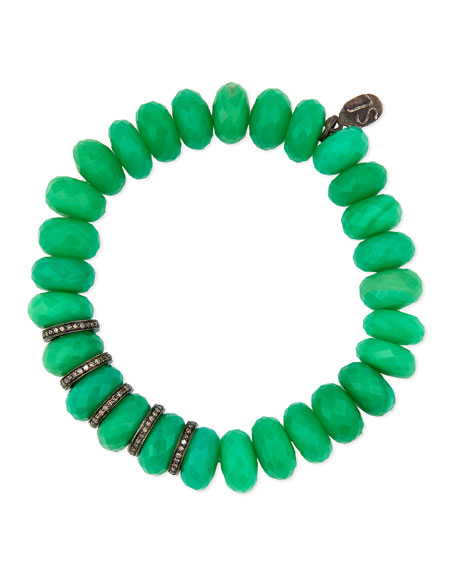10mm Chrysoprase Bracelet with Diamond Rondelles