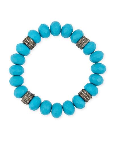 11mm Turquoise Bracelet with Diamond Rondelles