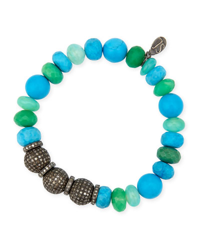 10mm Turquoise, Chrysoprase & Opal Bracelet with Diamonds