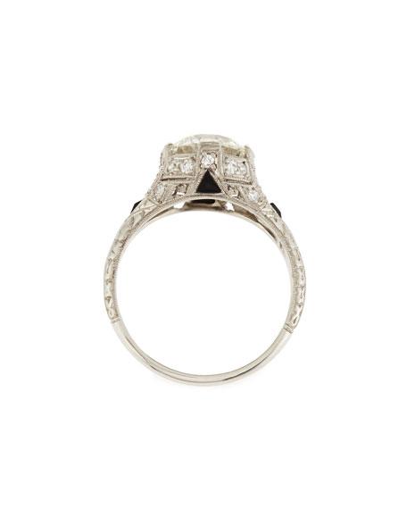 Estate Art Deco Diamond & Onyx Engagement Ring, Size 6