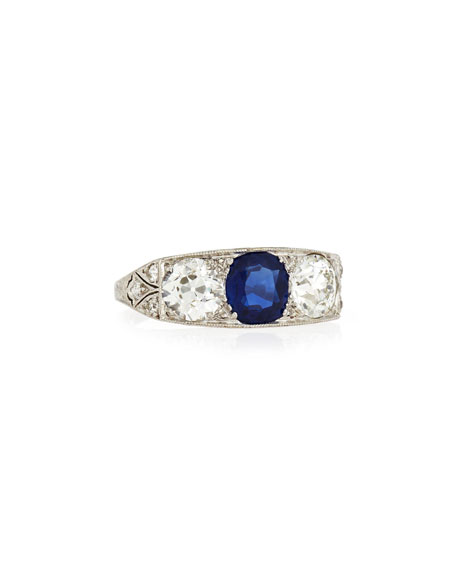 Estate Edwardian Three-Stone Sapphire & Diamond Ring, Size 5.5