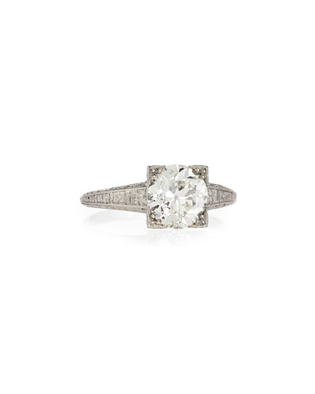 Estate Art Deco Diamond Box Engagement Ring, Size 6