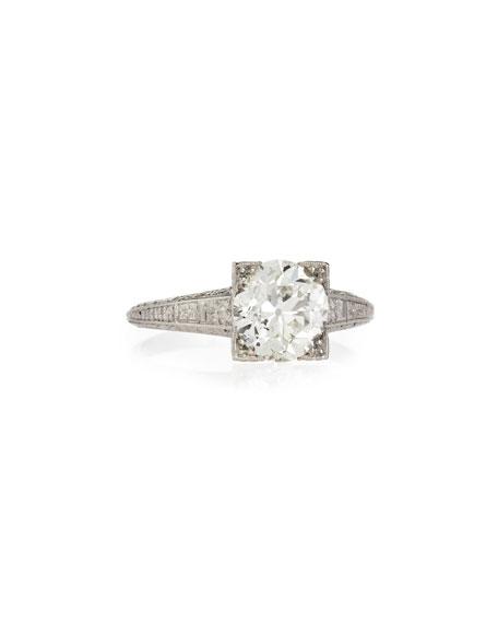 Estate Art Deco Diamond Box Engagement Ring, Size 6