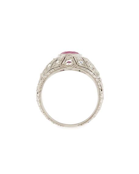 Estate Art Deco Ruby & Diamond Engagement Ring, Size 5.25