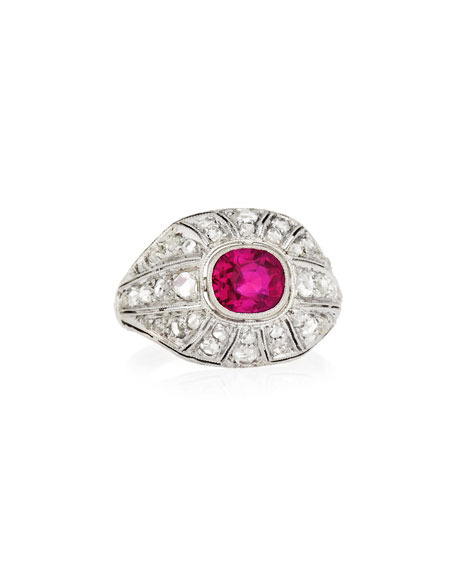 Estate Art Deco Ruby & Diamond Engagement Ring, Size 5.25