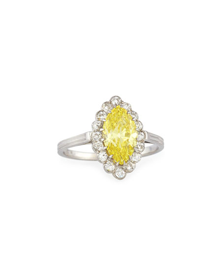 NM Estate Estate Art Deco Marquise Yellow Diamond