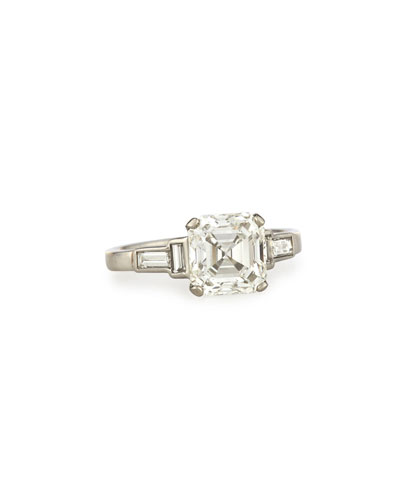 Estate Art Deco Asscher-Cut Diamond Engagement Ring  Size 6.5