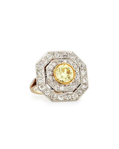 Estate Edwardian Octagonal Yellow Diamond Cluster Ring, Size 5.5