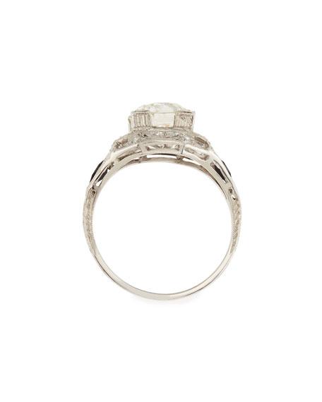 Estate Art Deco Diamond Box & Black Onyx Engagement Ring, Size 6.5