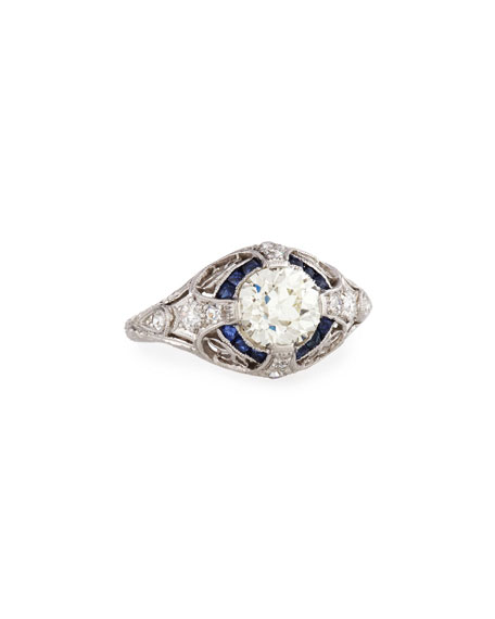 Estate Art Deco Diamond & Sapphire Engagement Ring