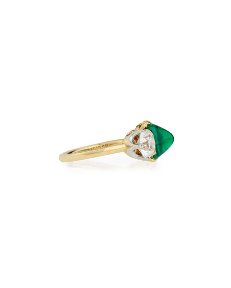 Estate Edwardian Tiffany Sugarloaf Emerald & Diamond Ring
