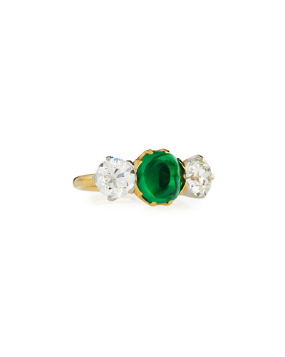 Estate Edwardian Tiffany Sugarloaf Emerald & Diamond Ring  Size 6
