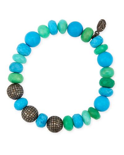 10mm Turquoise, Chrysoprase & Opal Bracelet with Diamond Rondelles