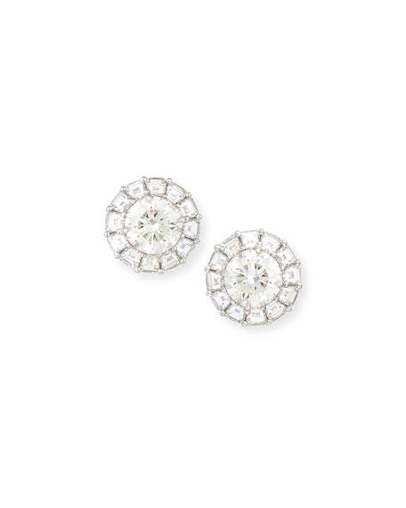 Platinum & Round Diamond Post Earrings