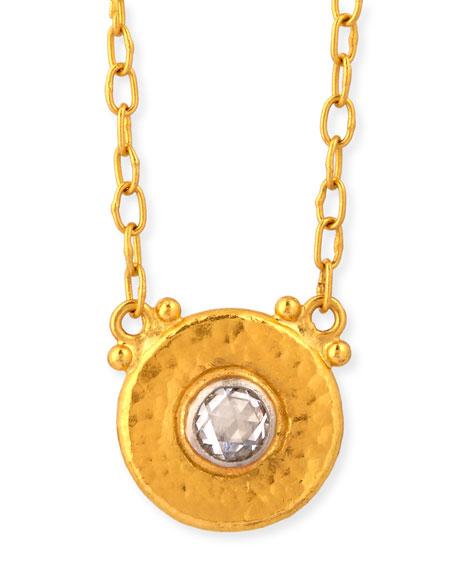 Gurhan Delicate Round Diamond Pendant Necklace 8OKJbdXH