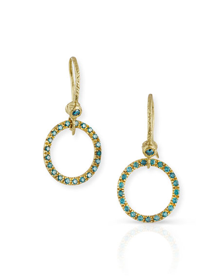 Dominique Cohen 18K Yellow Gold & Blue Diamond Round Drop Earrings