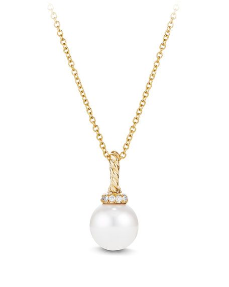 David yurman solari 18k gold pearl pendant necklace with solari 18k gold pearl pendant necklace with diamonds mozeypictures Choice Image