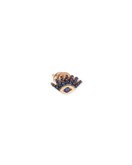Protect Me 14K Rose Gold & Sapphire Evil Eye Stud Earring
