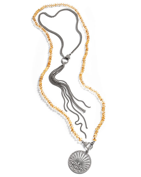 Sheryl Lowe Curb Chain Tassel Necklace with Diamond Clasp