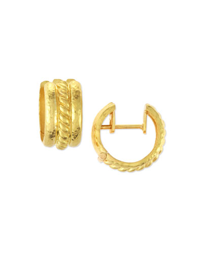 Braided 19K Gold Hoop Earrings