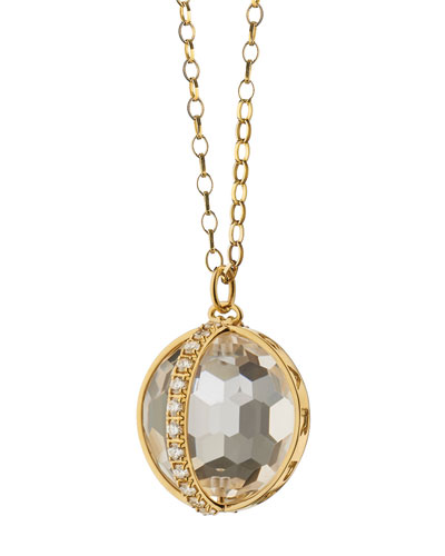 18K Gold Carpe Diem XL Rock Crystal Necklace with Diamonds