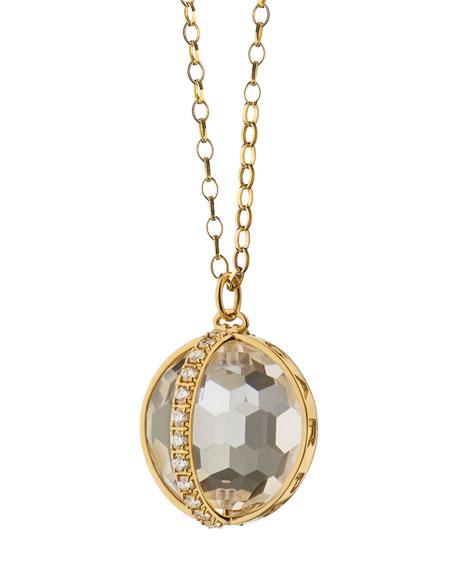 18K Gold Carpe Diem XL Rock Crystal Necklace with Diamonds