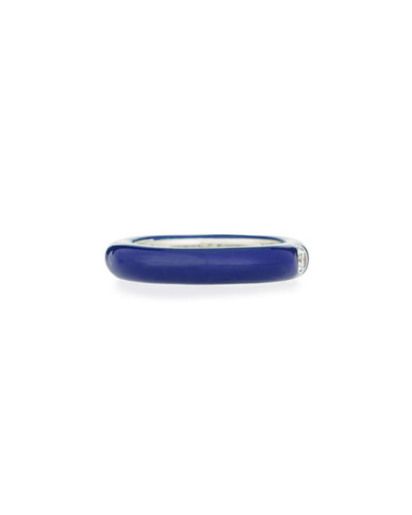 Blue Enamel & Single Diamond Ring, Size 6