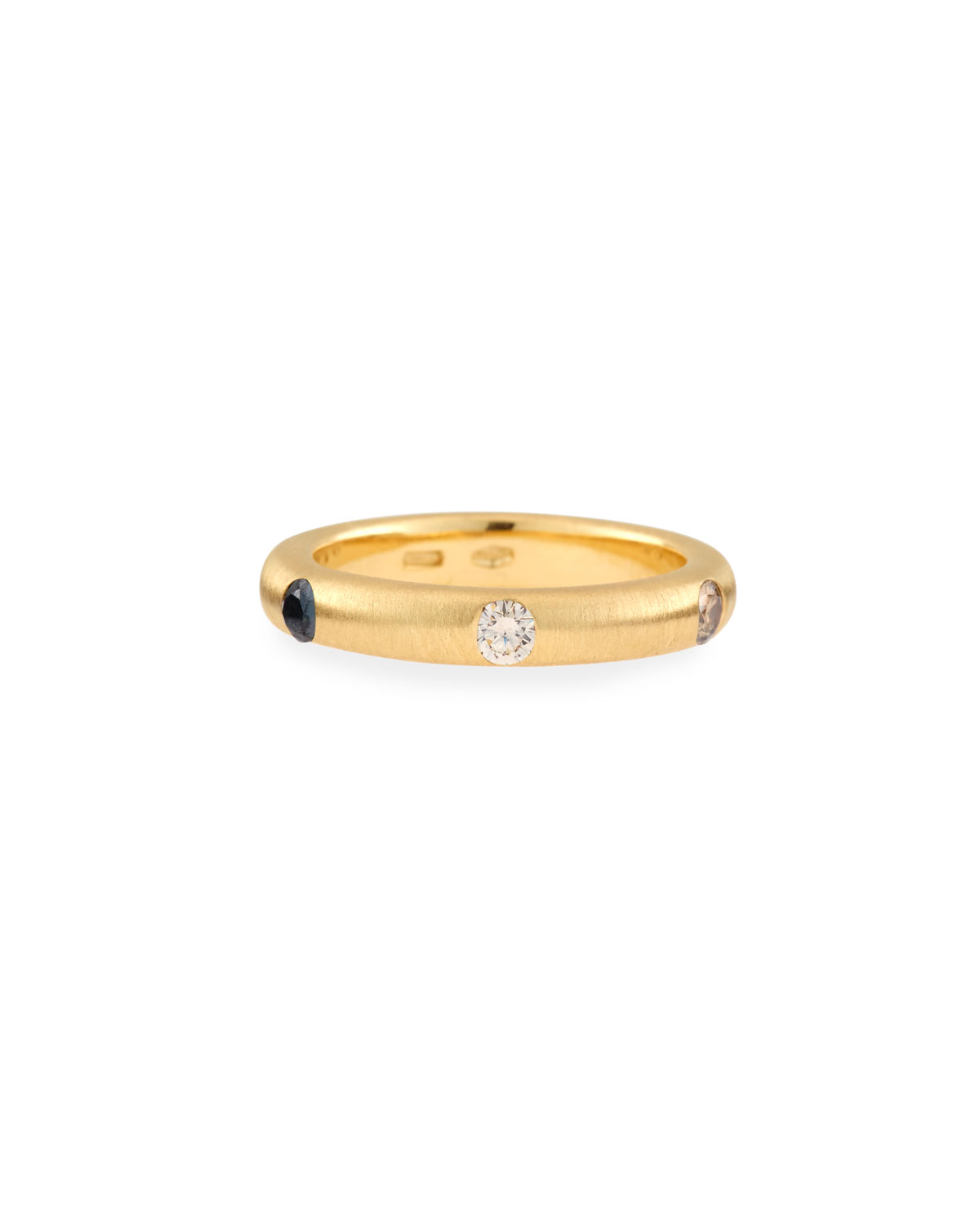 Adolfo Courrier 18K Yellow Gold Ring with Brown & Black Diamonds, Size 6.75