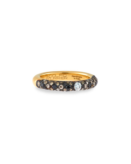 Adolfo Courrier 18K Yellow Gold Ring with Black & White Diamonds, Size 6.75