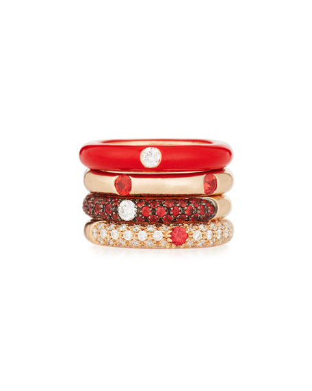 Red Enamel Ring with One Diamond, Size 6.75