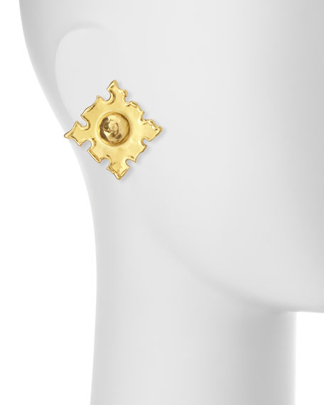 Jean Mahie Cardinals 22K Gold Earrings