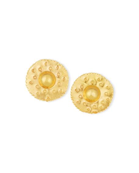 Jean Mahie 18K Yellow Gold Button Earrings