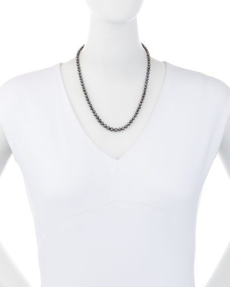 """Faceted Black Diamond Bead Choker Necklace, 19"""""""