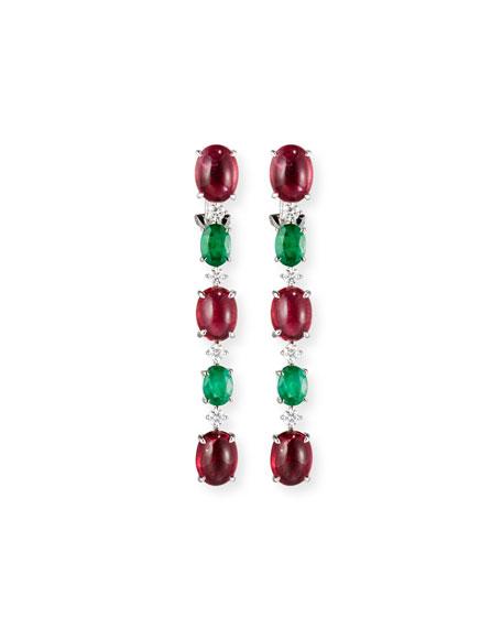 Alexander Laut 18K White Gold Emerald & Pink Topaz Drop Earrings with Diamonds