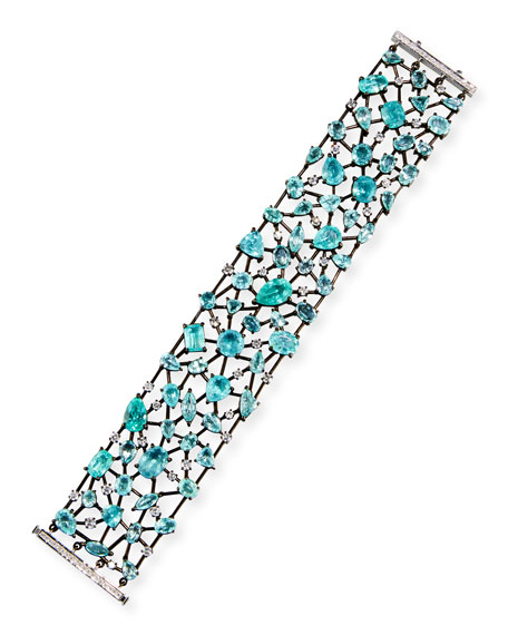 18K Brown Gold & Paraiba Bracelet with Diamonds