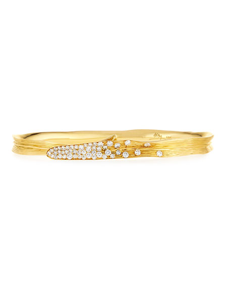 Michael Aram Palm 18K Gold Pave Diamond Hinged