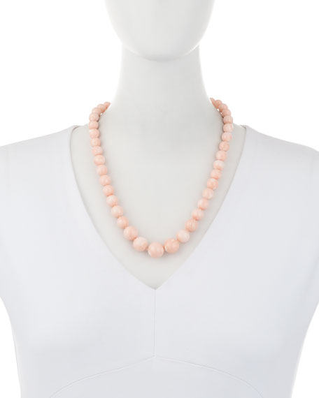 Graduated Angel Skin Coral Bead Necklace with Diamond Clasp, 1.09 tdcw