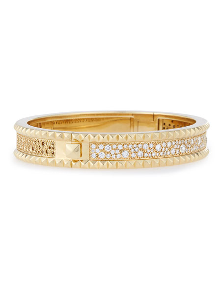 ROBERTO COIN ROCK & DIAMONDS Slim 18K Yellow Gold Bangle Bracelet