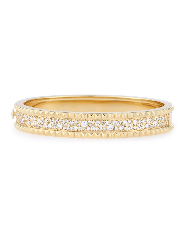 Roberto Coin Rock Diamonds Slim 18k Yellow Gold Bangle Bracelet