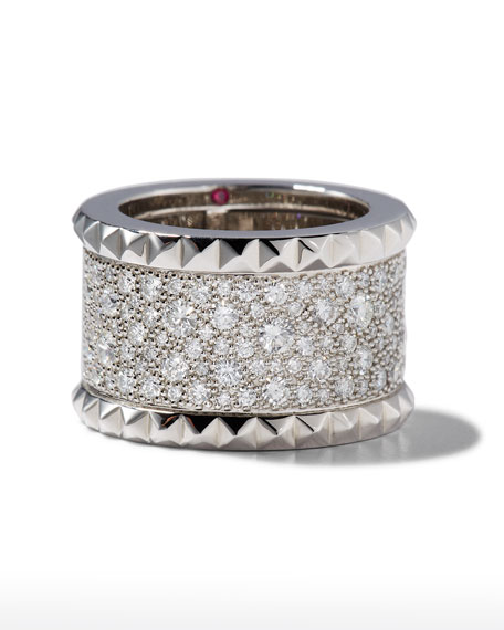 Roberto Coin ROBERTO COIN ROCK & DIAMONDS 18K White Gold Ring, Size 6.5