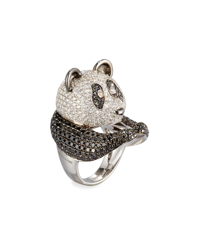Roberto Coin Animalier 18K White Gold Panda Ring with Black & White Diamonds, Size 6.5