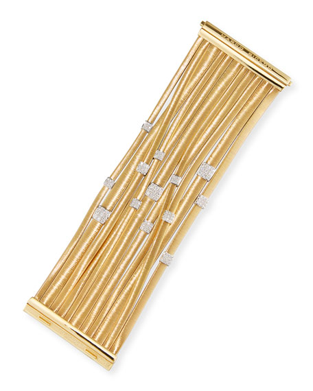 Masai 18K Yellow Gold 11-Strand Bracelet with Diamond Stations
