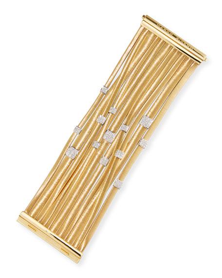 Masai 18K Yellow Gold 11-Strand Bracelet with Diamond Stations