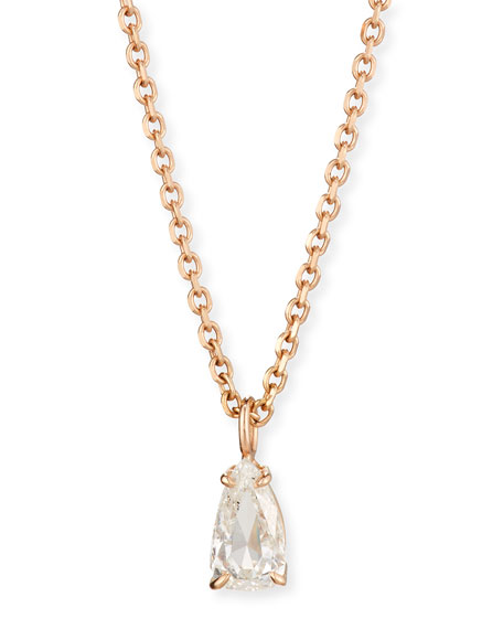 Rose-Cut Diamond Pendant Necklace in 18K Rose Gold, 0.77ct