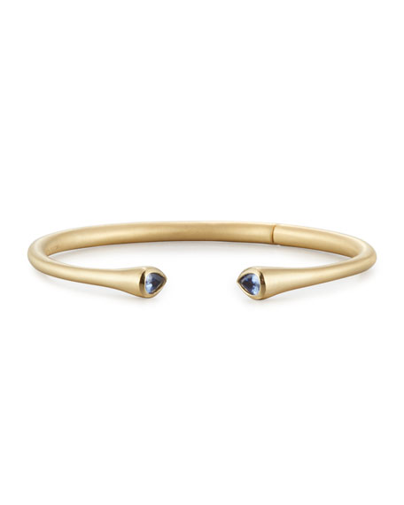 18K Yellow Gold Cuff Bracelet with Blue Sapphire