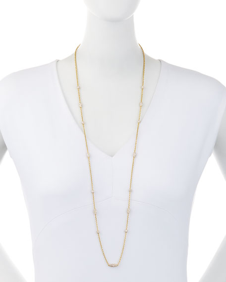 Pipette 18K Diamond Station Necklace, 36""