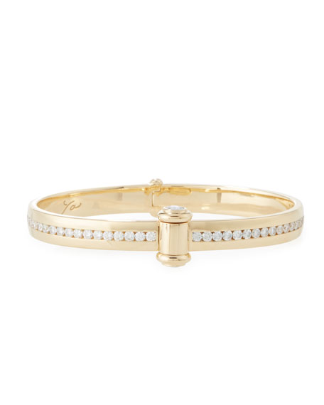 18K Yellow Gold I Promise to Love You Bangle with Diamonds