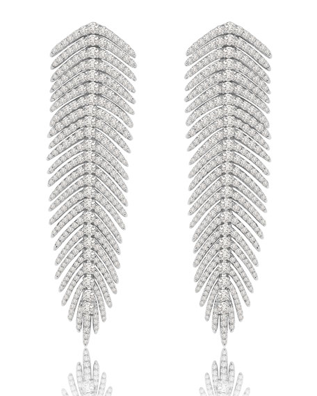18K White Gold Diamond Feather Earrings