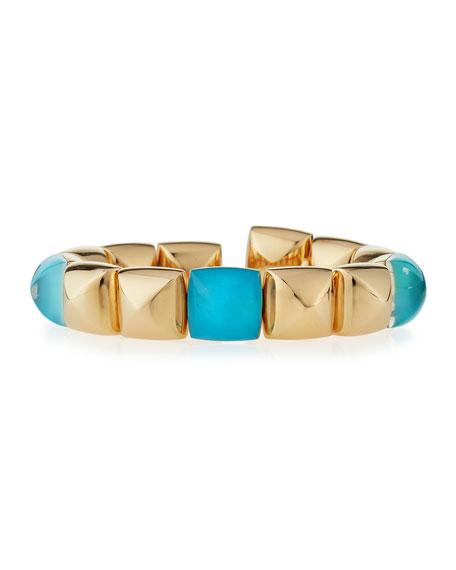 Pan Di Zucchero 18k Pink Gold Rock Crystal Turquoise Bracelet