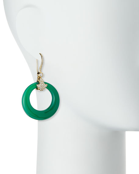 Karine 18K Pavé Diamond & Green Chalcedony Hoop Earrings